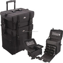 Black Large Capacity Professional 2 in 1 Nylon Makeup Artist Trolley Bag With Brush Holder