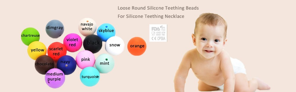FDA bpa free silicone teething beads chewing rubber loose baby teether