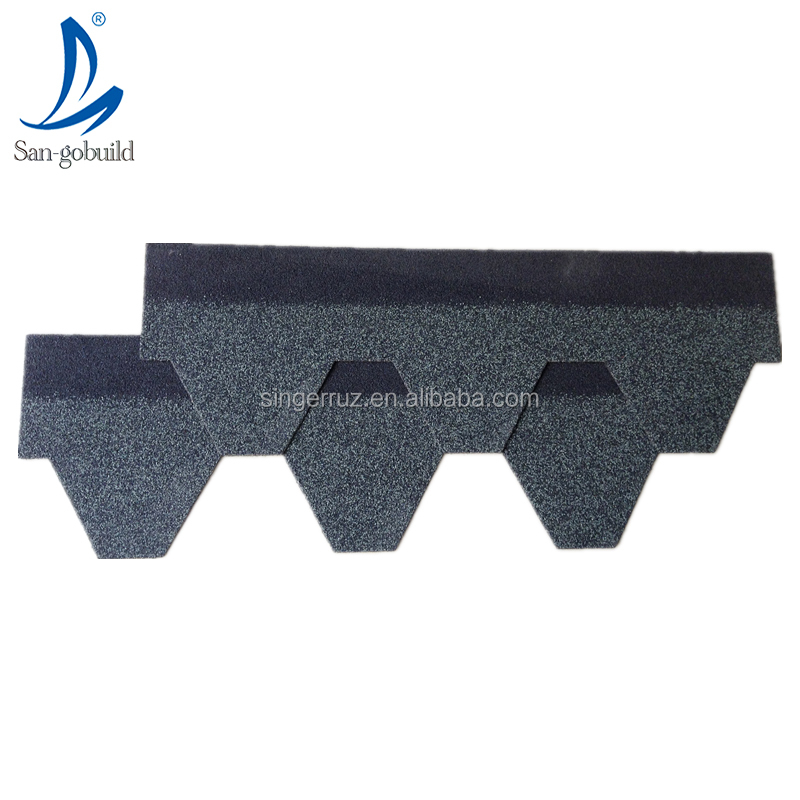 Hotsale San-gobuild 6 side asphalt shingles high quality low price color stone coated fiberglass felt base