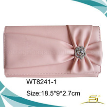 Sweet bowknot candy color decorated women custom newly clutch evening party bag ladies wallet