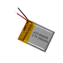 602025 3.7v rechargeable li-ion polymer lithium batteries 240mah small size