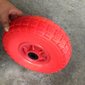 CHINA Supplier Solid Flat Free Filled Rubber Wheelbarrow Tool Carts PU Foam Wheel 4.10/3.50-4