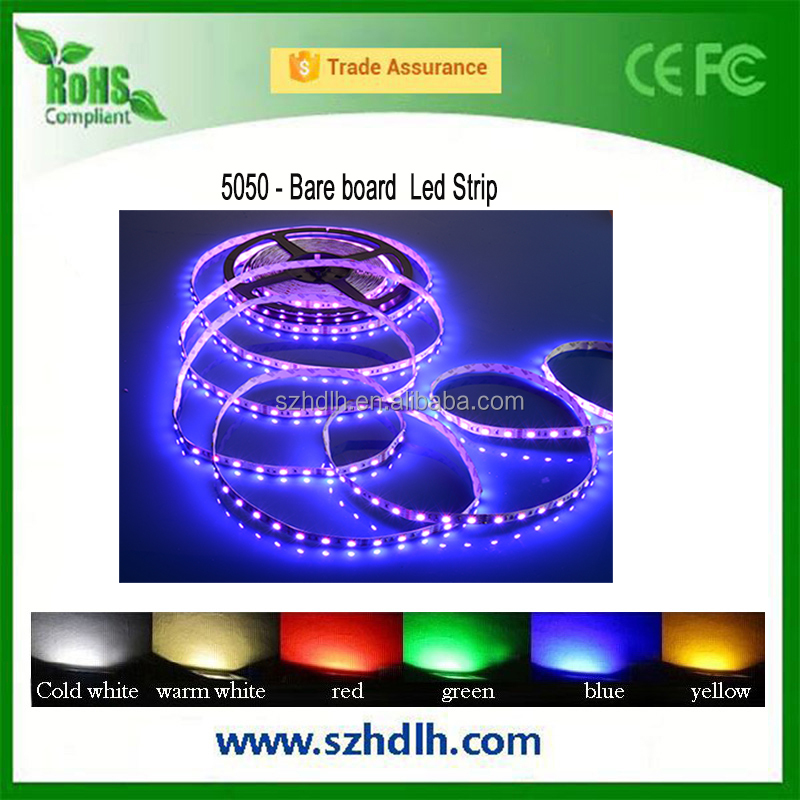 Good price smd 5050 bare board led strip , ip20 led strip light with 5m/roll