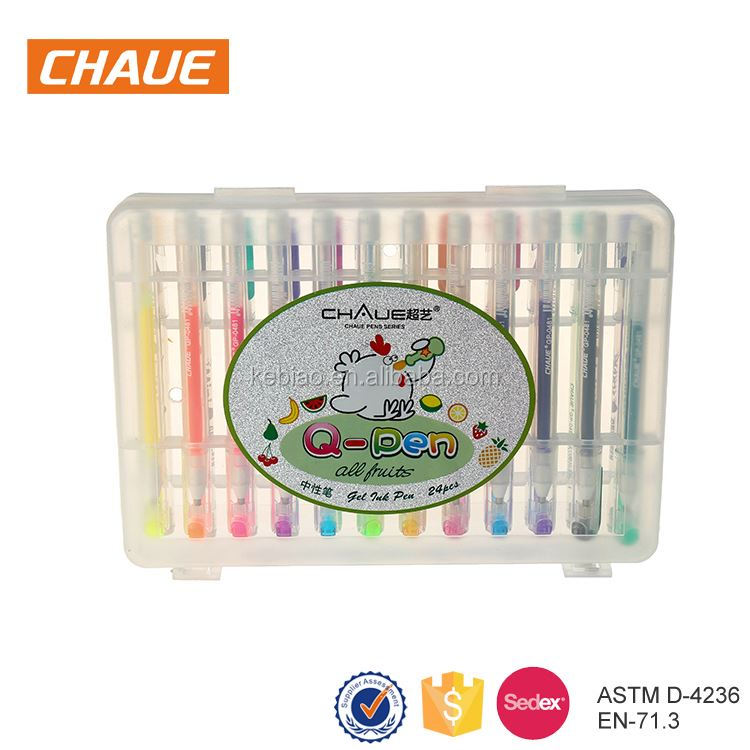 2017 professional customized promotional plastic shell multicolor gel pens art set