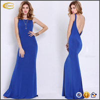 Ecoach Wholesale OEM 2016 Elegant blue round neck and sleeveless maxi dress sexy Backless cocktail dress for women