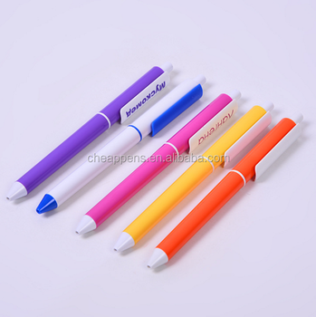 advertising gift pen colorful solid color barrel plastic ball point pen