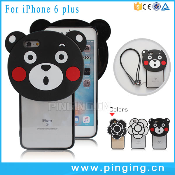 Latest mobile Covers 3D Silicone Bear Transparent Hard Phone Cover For iPhone 6 Plus 6S Plus