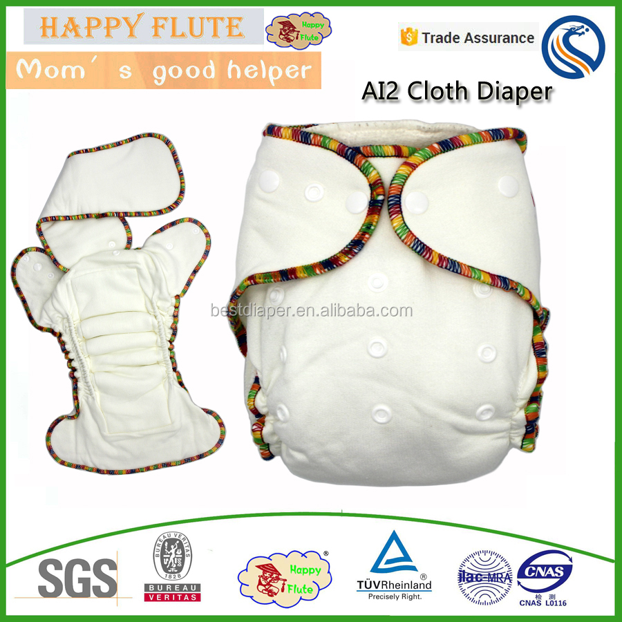 Happy Flute Onesize bamboo cotton fitted diaper natural AI2 hemp diaper fit babies from 5-15kgs baby clothes wholesale price