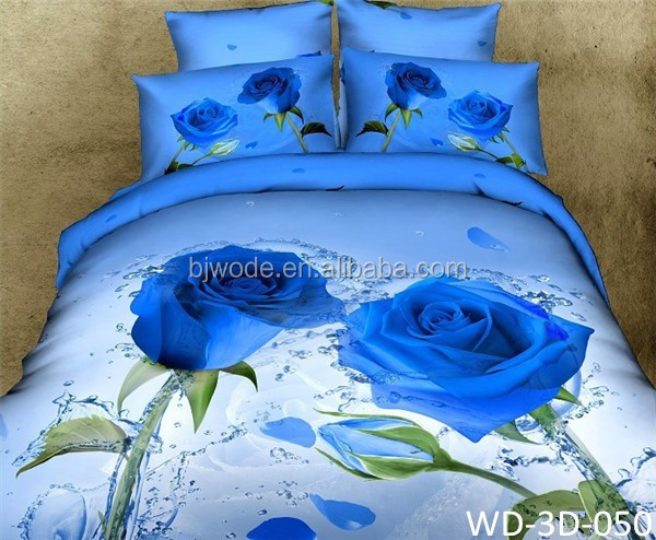 Soft material 3D digital cotton twill reactive printing bedding set