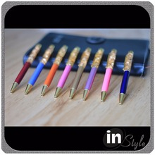 Best selling metal oil floating gold leaf with liquid ball pen/black blue ink