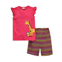 Pure cotton giraffe and monkey printed t-shirts Children's clothing wholesale organic baby clothes Cartoon T-shirt