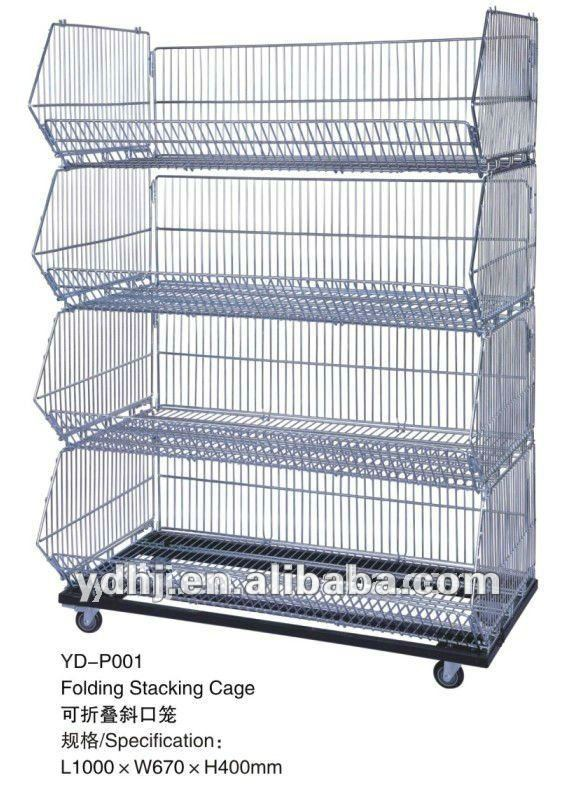 Movable Tilted Basket Shelf/warehouse cage shelf/Stackable wire baskets with wheels