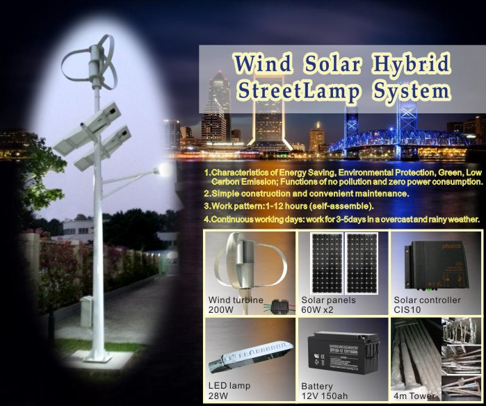 320w wind and solar power supply system for streetlight