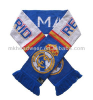 2014 Brazil World Cup Knitted Real Madrid Football Team Football Fan Scarf with Barca Team Logo