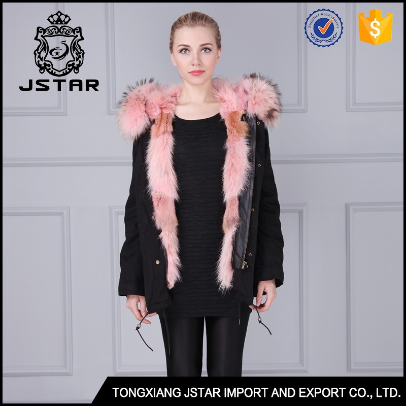 Factory direct military style pink real fur winter parka fur jacket women
