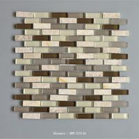 Beige Marble And Light/Dark Brown Random Strip Mosaic Polished Brick Mosaic Square Mosaic Wall And Floor Tile