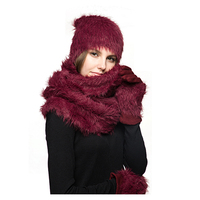 Wholesale Custom Design Winter Colorful Warm Fleece Inside Gloves Scarf Hat Sets