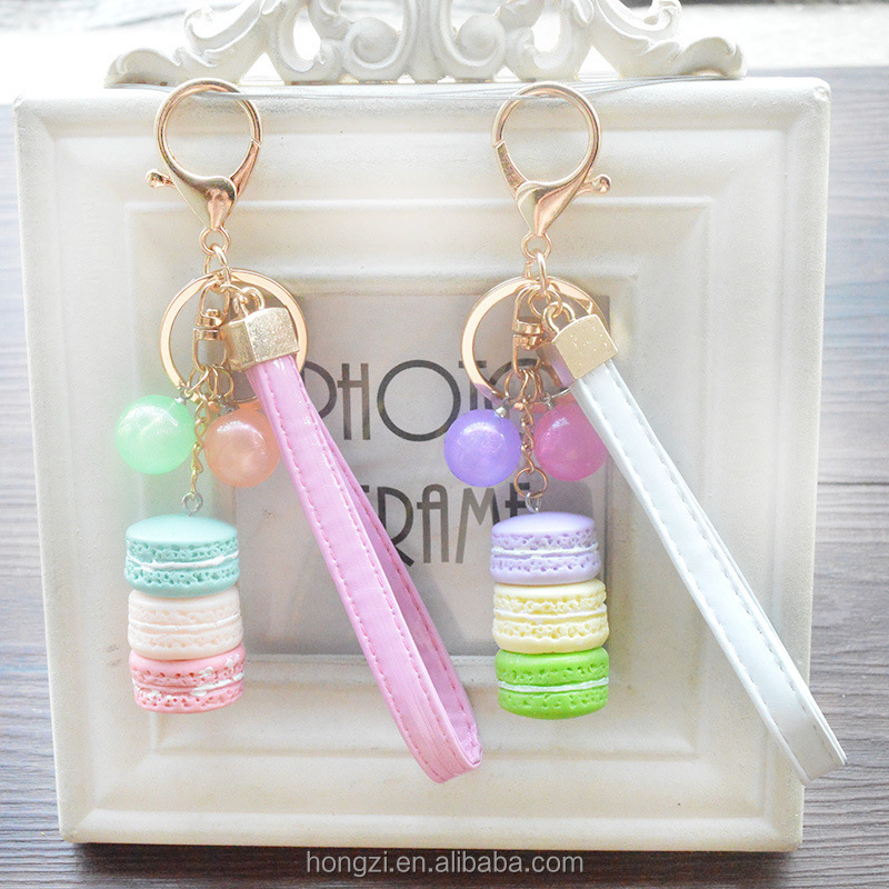 Creative Macarons Cake Hot Key Chain Hide Rope Pendant Fashion Keychains Car Keyrings Accessories Women Bag <strong>Charm</strong>