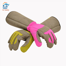 Ladies Leather Long Sleeve Protective Garden Gloves