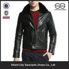 Fancy Style Cheap Price Black Mens Genuine Leather Jacket Fur Collar, Custom Wholesale Leather Jacket