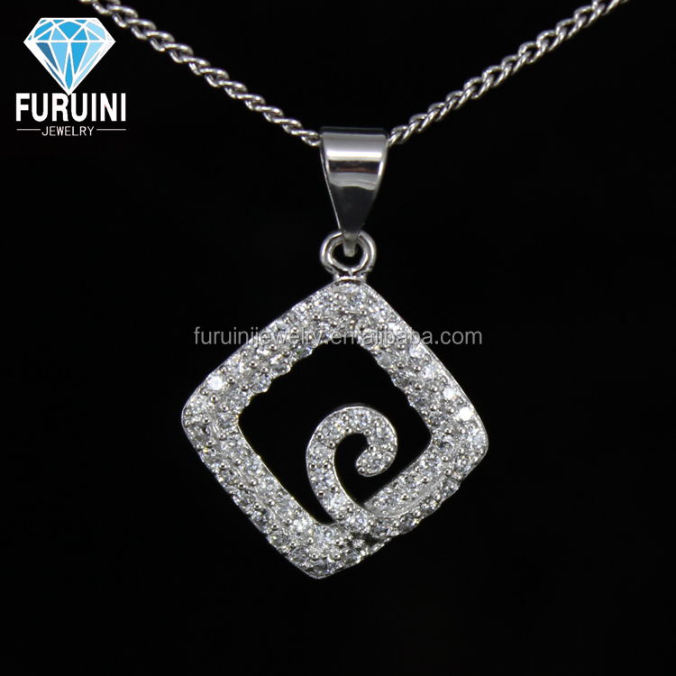 AAA CZ quantum pendant 18k gold plated copper jewelry square shape copper alloy jewelry