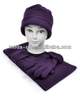 Women's winter polar fleece scarf, hat & glove sets