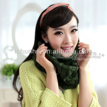 colorful fashion winter green color knitted round neck warmer factory