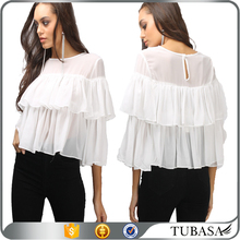 Ladies White Ruffle Smock Top Tow Layers Best Blouse Designs Back Neck