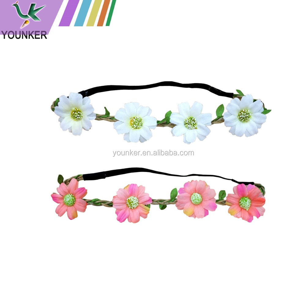 Wholesale Artificial Flower Elastic Hair Band