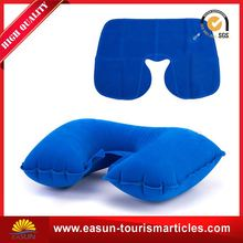 comfortable flocked pvc inflatable pillow u shape headrest pillow custom inflatable pillow
