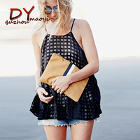 2017 Summer Black Plaid Sleeveless Chiffon
