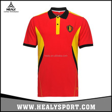 2017 Wholesale Belgian Football Association Embroidery Logo Soccer Polo Jersey