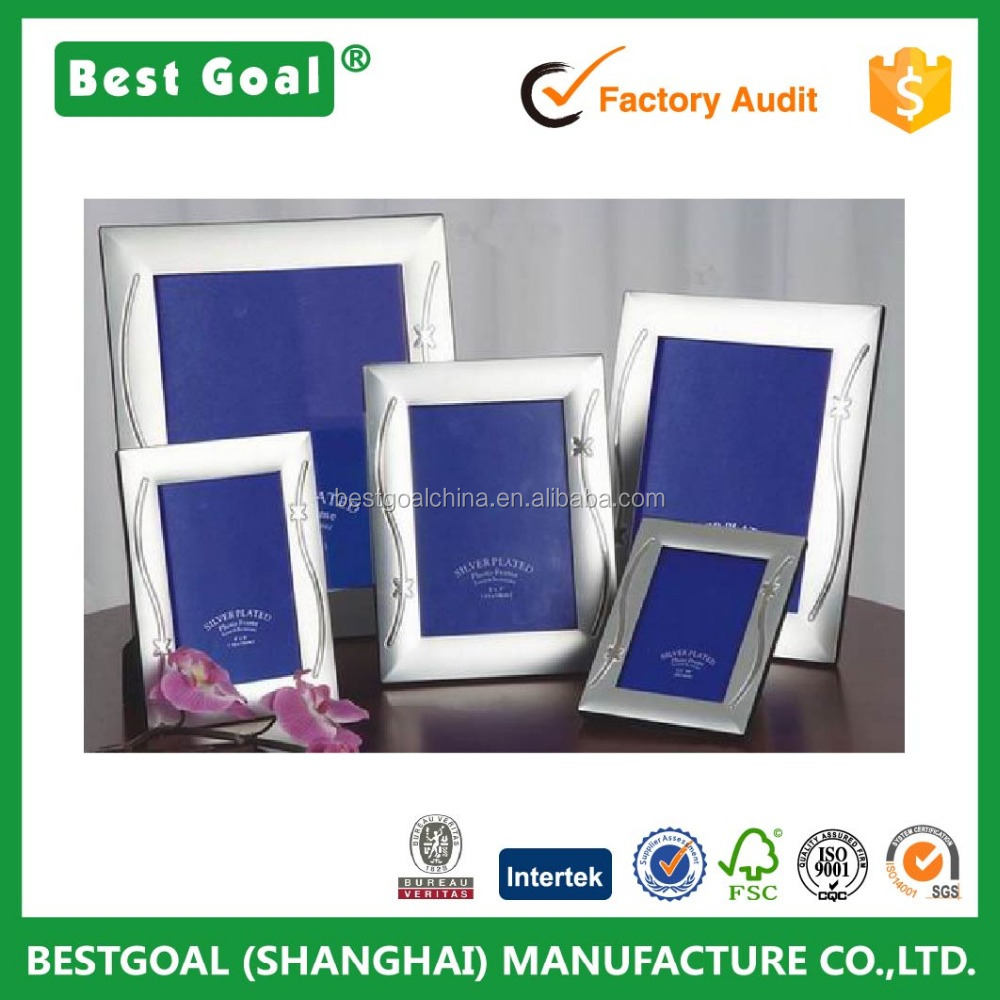Home decorative stripe silver metal aluminum photo frame picture frame