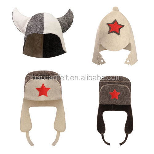felt sauna hat star hat 100% sheep wool fast delvery high quality felt hat 24*38cm