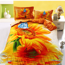 100% Polyester Microfiber Fabric 3d Beautiful Flora Printed Bedding Set