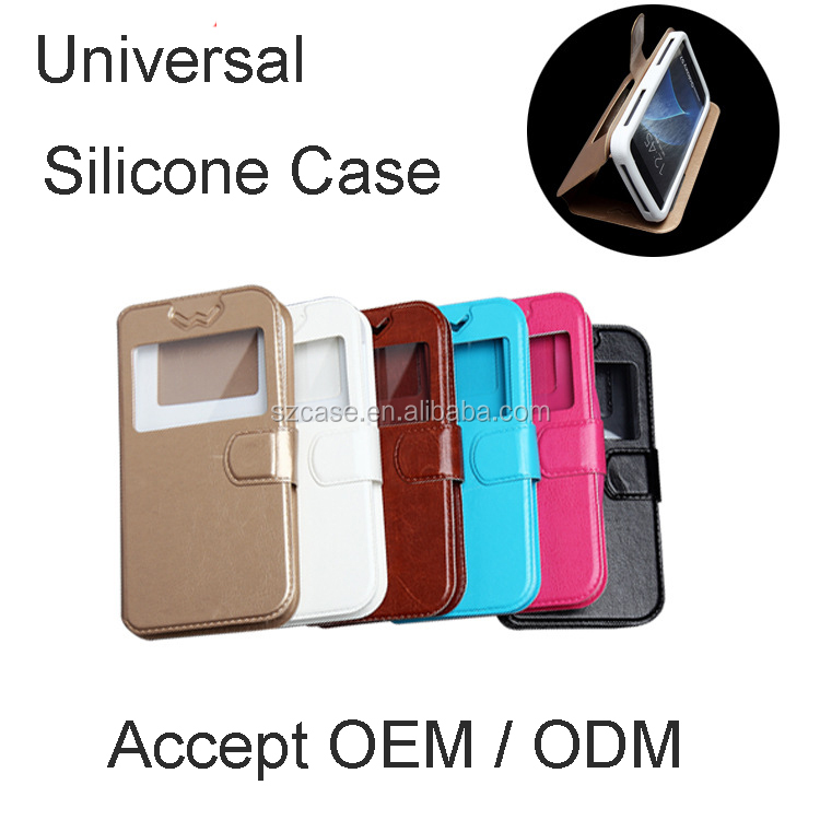 Accept OEM ODM logo universal smart window silicone leather stand style flip mobile phone cover case