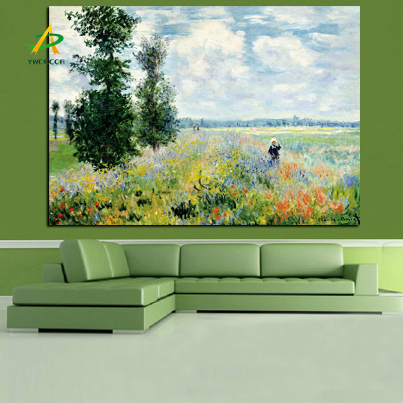 Print Claude MonetPoppies at Argenteui Landscape Oil Painting Art Canvas Picture Poster for Living Room
