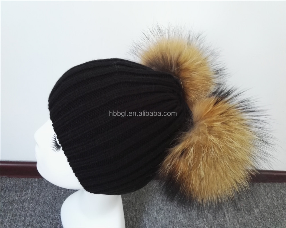Fashionable Ladies Knit Real Fur Winter Hat Beanie Pom / Women Sex Pom Beanie Hat with Two Balls