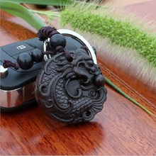 Customize Logo High-grade black wood 3D carving Dragon Lucky ebony woodwork Keychain pendant
