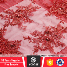 Hot selling african women dress fabrics red embroidered lace fabric