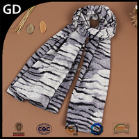 GDS01010 Factory price much cheaper scarf plush the tiger stripes scarf embroidery patterns scarf