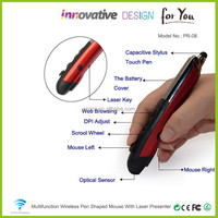 PROMI PR-08 High Quality Business Gift 2.4GHz Wireless Pen Shaped Mouse With Capacitive Touch Pen/Laser Pointer/E-Touch