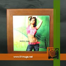 Sublimation coated ceramic tiles with wooden frame