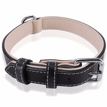 High Quality Top Grade Black Genuine Leather Working Dog Pet Training Collars