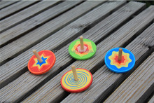 Kids Kindergarten Learning Educational Toy Multicolor Mini Cartoon Wooden Spinning Top Toy Wood Gyro Classic Toys