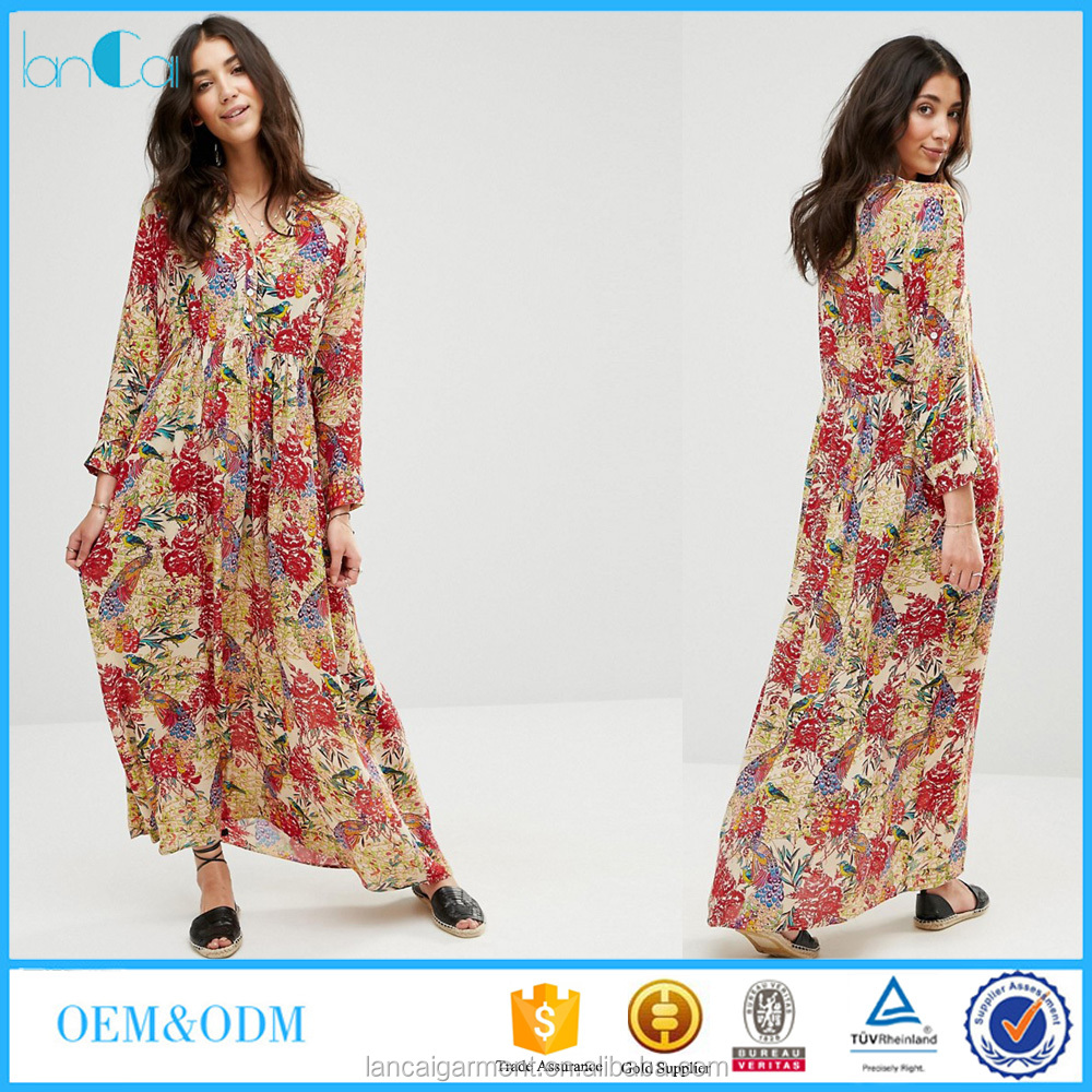 2016 Fashion Cardigan Printed Maxi Dress Ladies Long Sleeved Maxi Dress