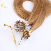 2016 Hot sale Micro Loop Ring hair Extensions 1g/strand Brazilian virgin hair 8A grade Silky straight human hair Extensions