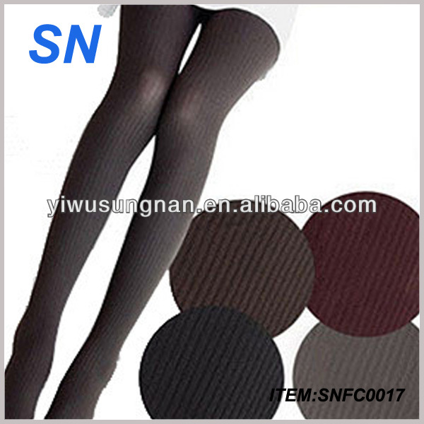 Hot Sex Women Vertical Stripes Pantyhose Korean Fashion Slim Velvet Stockings Shaping Breathable Leggings