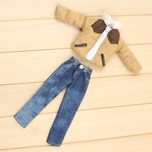 10 inch Miniature winter doll clothes lamb coat jean trousers