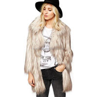 Z51531B Women Winter Peacock Feather Fur Coats Deep V Neck Hoodies Overcoat
